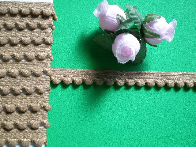 画像1: 幅1.1c キャメル色の可愛いベビーボンテン(ストレッチ)・3M