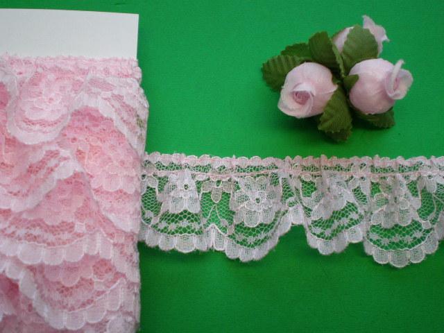 画像1: 幅約3.5c ピンクのフリル 4M