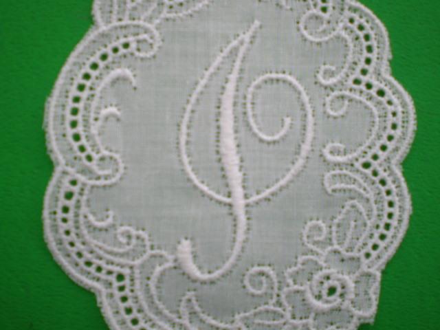 画像1: I 繊細な綿のイニシャルモチーフ