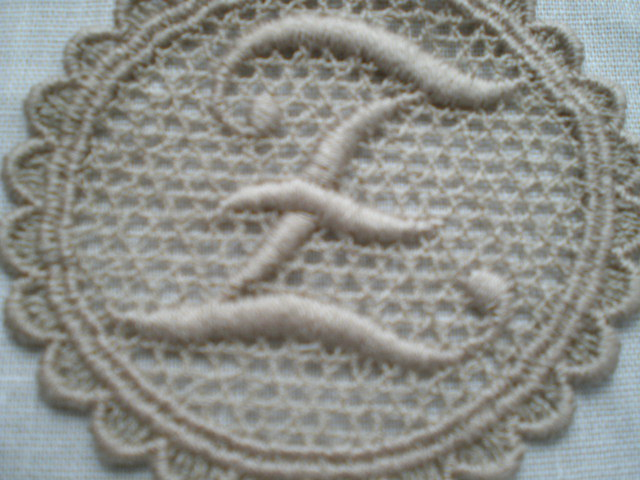 画像1: E モカチャの綿ケミカルのイニシャルモチーフ 3枚入り