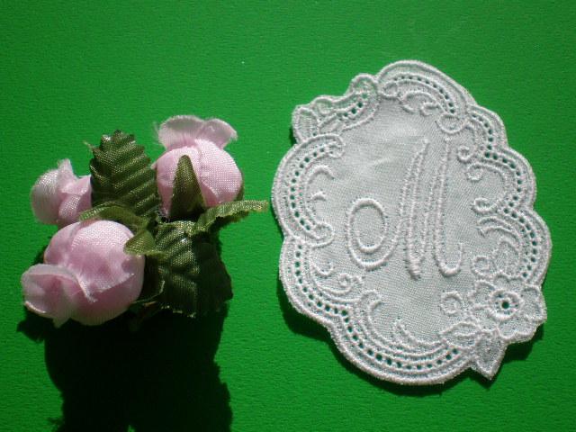 画像1: M 繊細な綿のイニシャルモチーフ