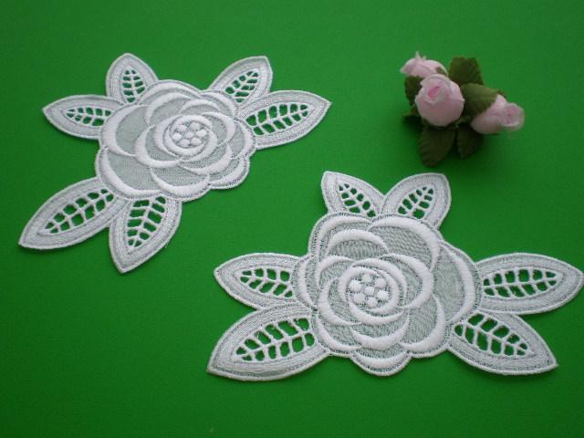 画像1: エレガントな花柄の綿モチーフレース