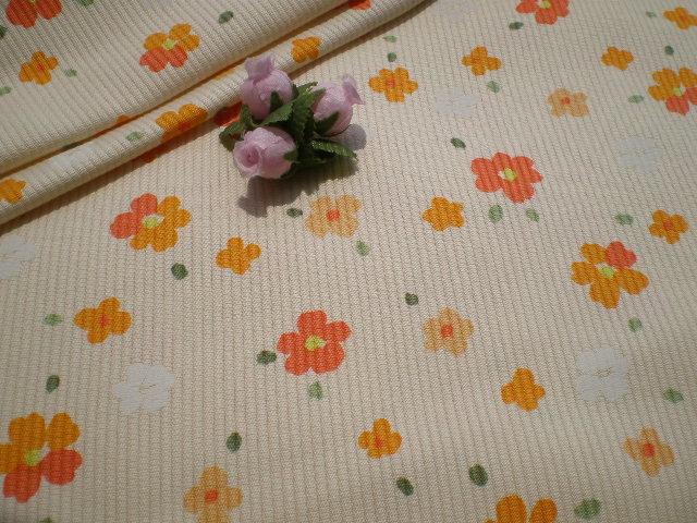 画像1: オレンジの小花のピケワッフル・1M