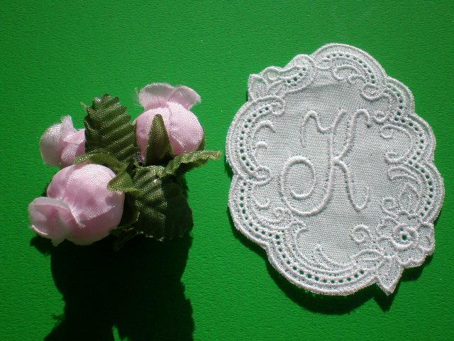 画像1: K 繊細な綿のイニシャルモチーフ