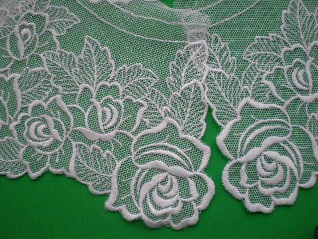 画像1: オフシロのエレガントな綿チュールの高級襟レース