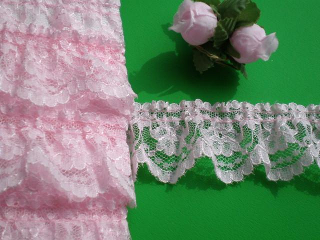 画像1: 幅約3.5c ピンクの人気のフリル・10M