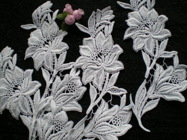 画像1: シロの綿ケミカル・ブライダルモチーフレース 2組4枚