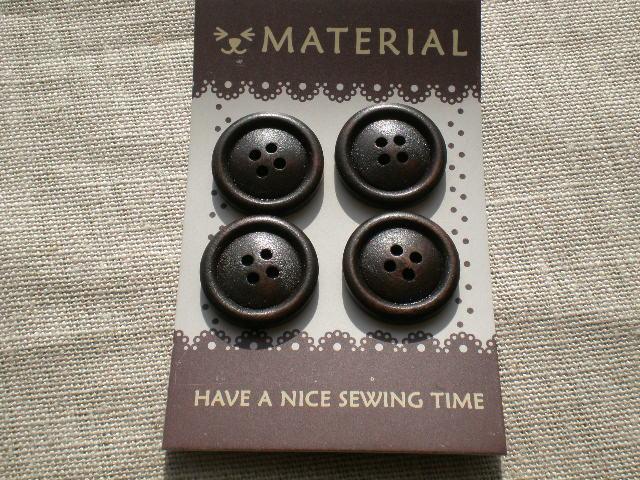 画像1: 20mm 木のぬくもりがとても優しいウッドマテリアルボタン 4個入り