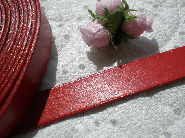 画像1: 幅約2C 日本製 アカ色のヌメ皮 1M