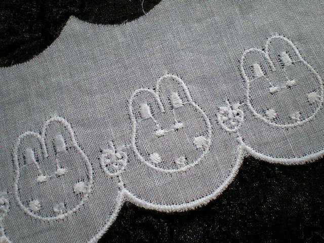 画像1: 幅約4.5c  可愛いウサちゃん メルヘンチックなシロの綿レース 4M