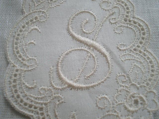 画像1: S レース工房太陽のオリジナル・キナリの繊細な綿のイニシャルモチーフ