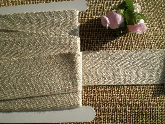 画像1: 幅約3c 綾織の麻混ナチュラルテープ 3M