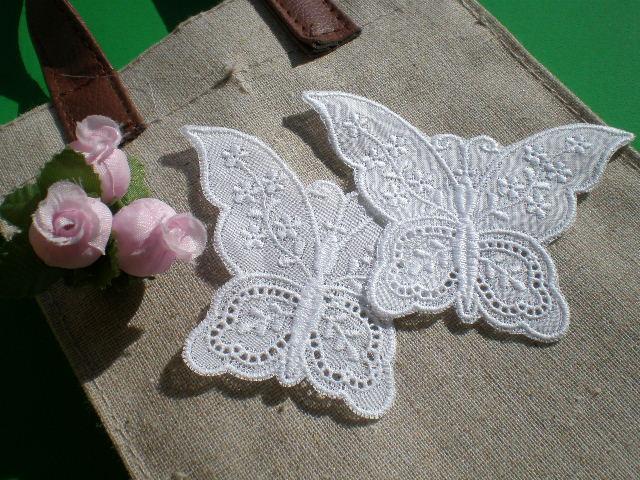 画像1: 繊細な蝶々柄の綿モチーフレース 2枚入り