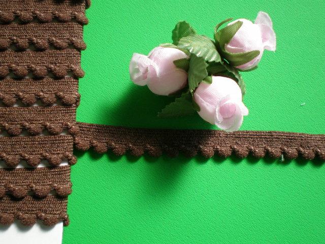 画像1: 幅1.1c チョコレートブラウンの可愛いベビーボンテン(ストレッチ)・3M