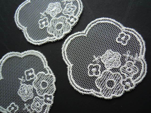 画像2: 人気の花柄のチュール・モチーフレース 3枚入り