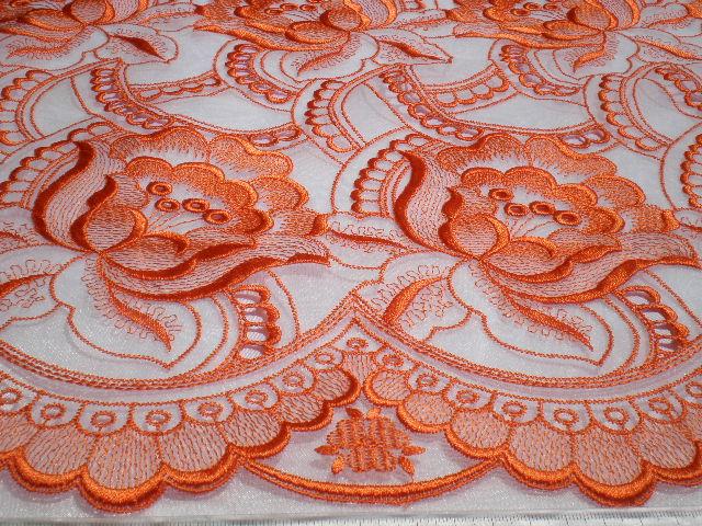 画像1: 最高級総柄 シロ地のオーガン地にオレンジピンクの大柄な花柄 1M