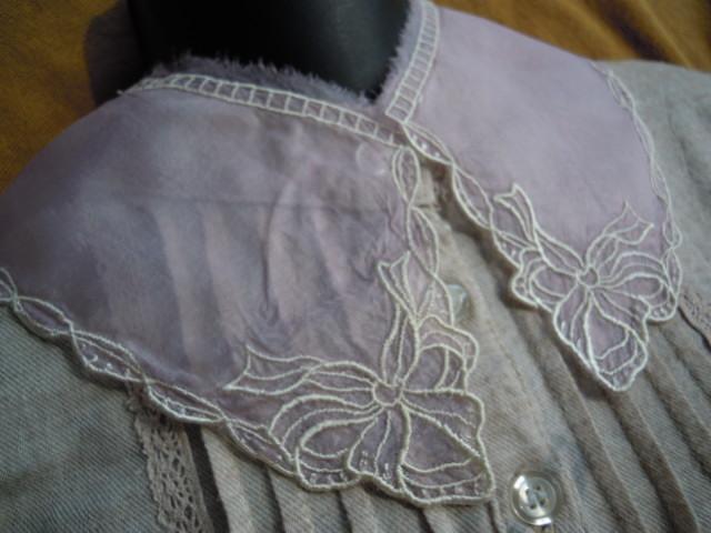 画像3: 淡いピンクと淡いキナリ色のエレガントなオーガンジの襟レース